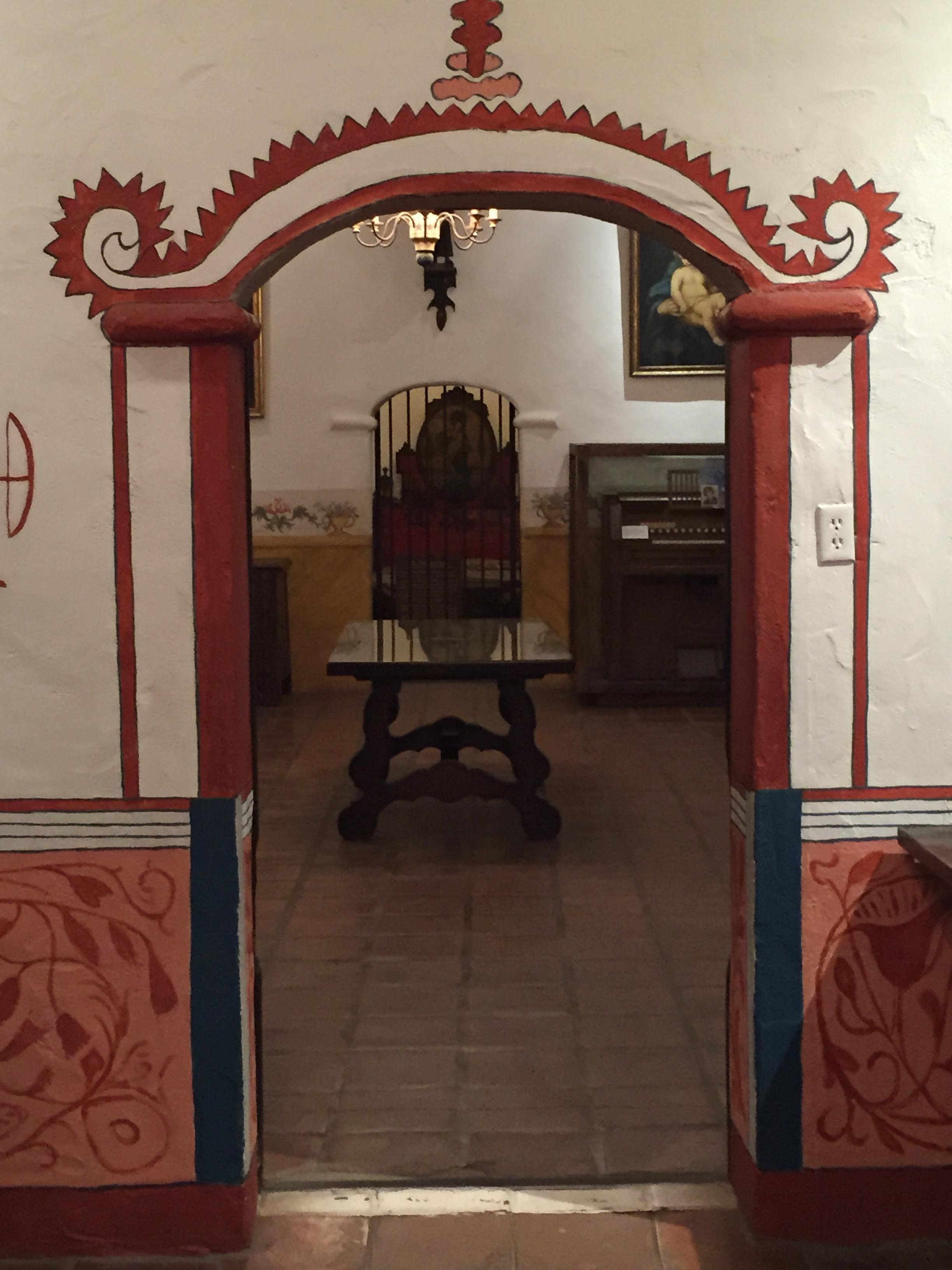 San fernando Mission painted door frame - ventura santa Barbara san Fernando Missions